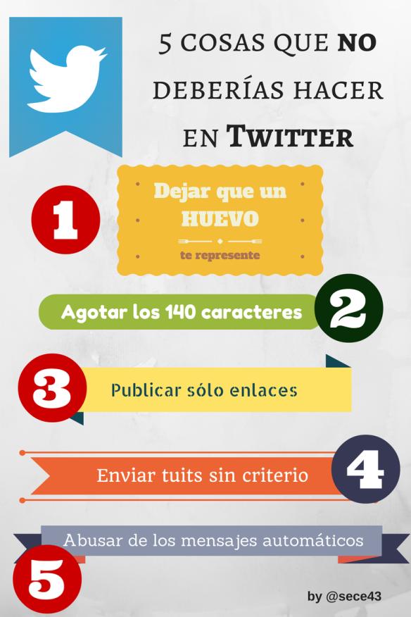 infografía con 5 cosas que no debes hacer en Twitter