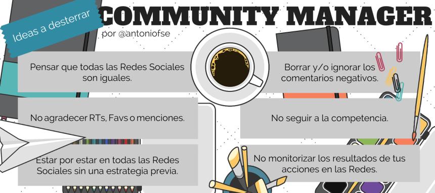 Una infografía con 6 ideas a desterrar para un Community Manager.